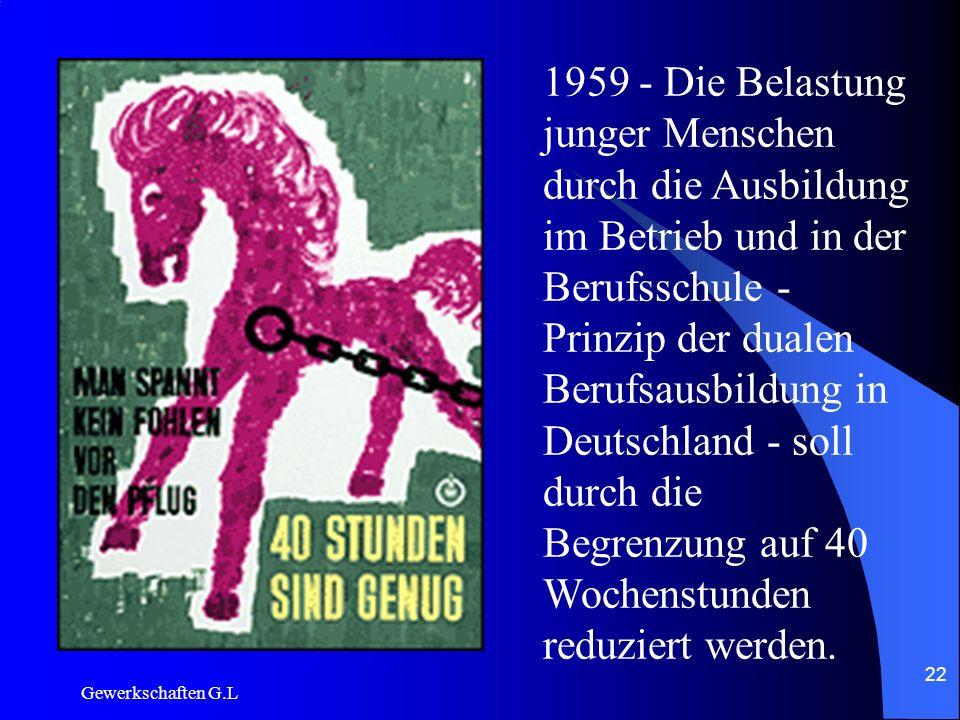 1959 - Die Belastung junger Menschen durch die Ausbildung im Betrieb und in der Berufsschule - Prinzip der dualen Berufsausbildung in Deutschland - soll durch die Begrenzung auf 40 Wochenstunden reduziert werden.