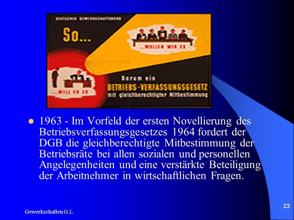 1963 - Im Vorfeld der ersten Novellierung des Betriebsverfassungsgesetzes 1964 fordert der DGB die gleichberechtigte Mitbestimmung der Betriebsräte bei allen sozialen und personellen Angelegenheiten und eine verstärkte Beteiligung der Arbeitnehmer in wirtschaftlichen Fragen.