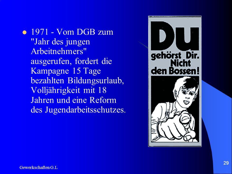 1971 - Vom DGB zum Jahr des jungen Arbeitnehmers ausgerufen, fordert die Kampagne 15 Tage bezahlten Bildungsurlaub, Volljährigkeit mit 18 Jahren und eine Reform des Jugendarbeitsschutzes.