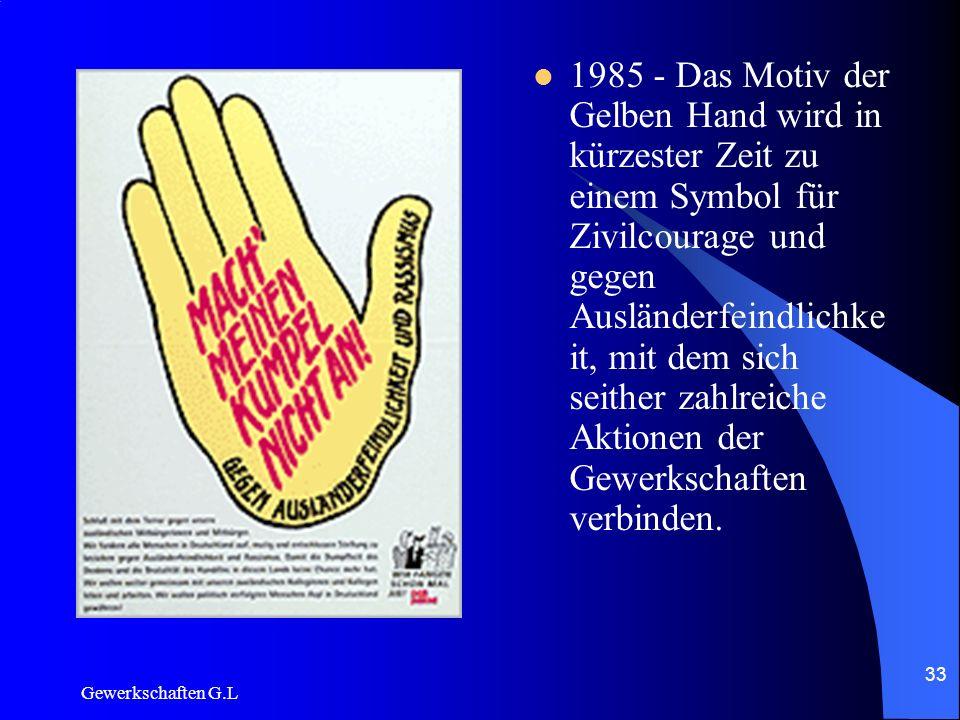 1985 - Das Motiv der Gelben Hand wird in kürzester Zeit zu einem Symbol für Zivilcourage und gegen Ausländerfeindlichkeit, mit dem sich seither zahlreiche Aktionen der Gewerkschaften verbinden.