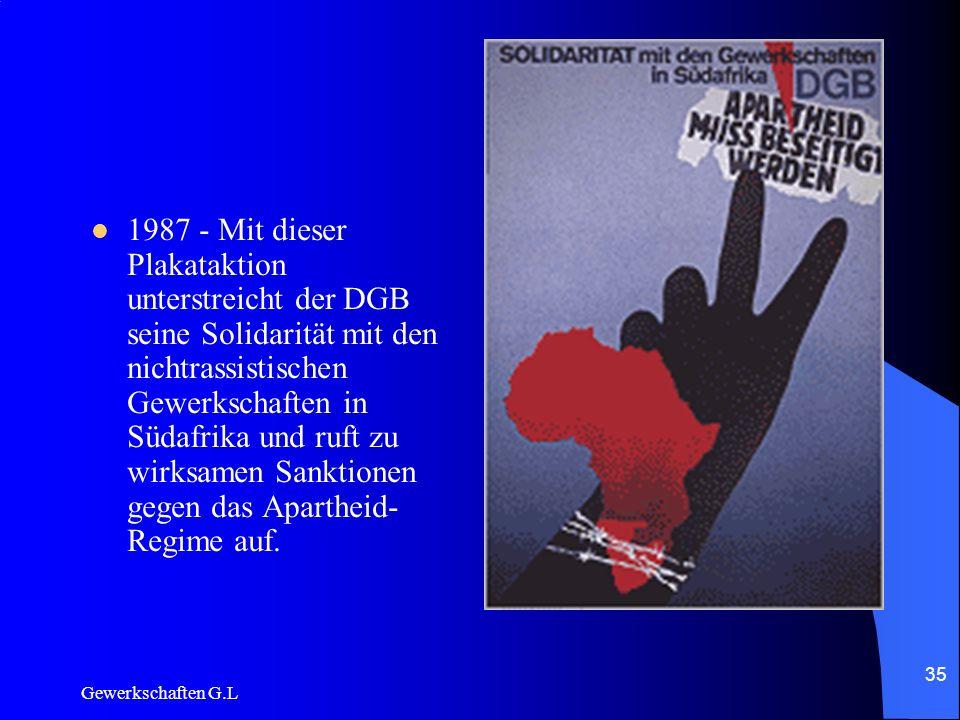 1987 - Mit dieser Plakataktion unterstreicht der DGB seine Solidarität mit den nichtrassistischen Gewerkschaften in Südafrika und ruft zu wirksamen Sanktionen gegen das Apartheid-Regime auf.