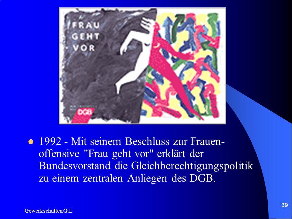 1992 - Mit seinem Beschluss zur Frauen-offensive Frau geht vor erklärt der Bundesvorstand die Gleichberechtigungspolitik zu einem zentralen Anliegen des DGB.