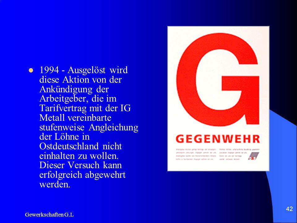 1994 - Ausgelöst wird diese Aktion von der Ankündigung der Arbeitgeber, die im Tarifvertrag mit der IG Metall vereinbarte stufenweise Angleichung der Löhne in Ostdeutschland nicht einhalten zu wollen. Dieser Versuch kann erfolgreich abgewehrt werden.