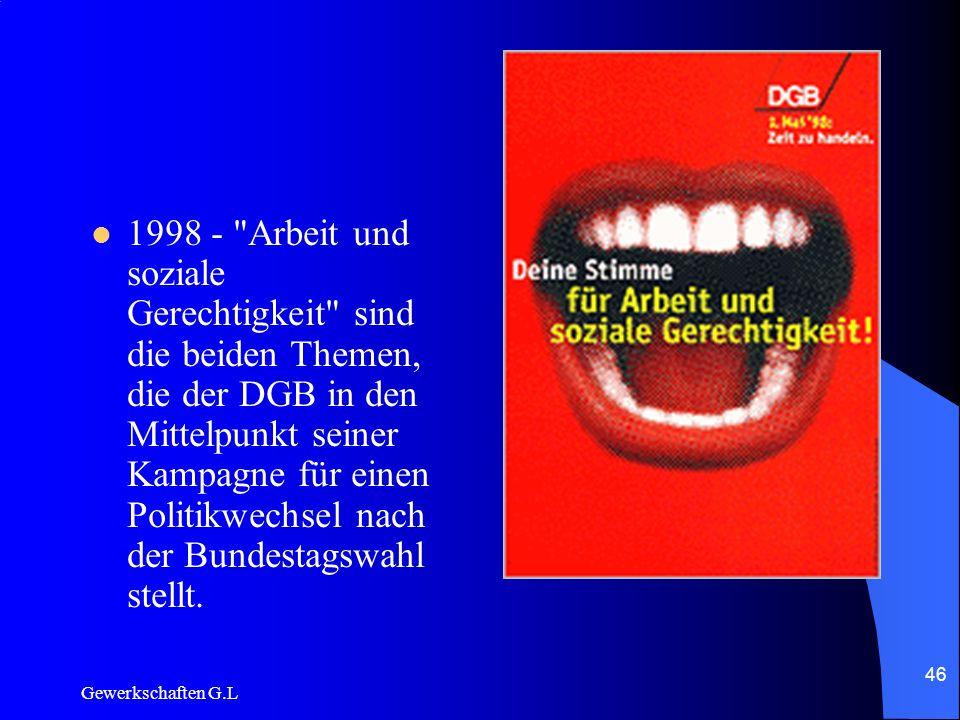 1998 - Arbeit und soziale Gerechtigkeit sind die beiden Themen, die der DGB in den Mittelpunkt seiner Kampagne für einen Politikwechsel nach der Bundestagswahl stellt.