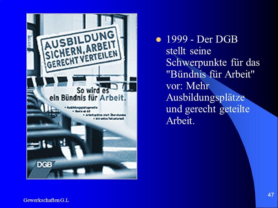 1999 - Der DGB stellt seine Schwerpunkte für das Bündnis für Arbeit vor: Mehr Ausbildungsplätze und gerecht geteilte Arbeit.