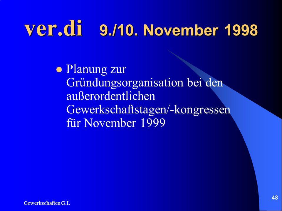 ver.di 9./10. November 1998 Planung zur Gründungsorganisation bei den außerordentlichen Gewerkschaftstagen/-kongressen für November 1999.