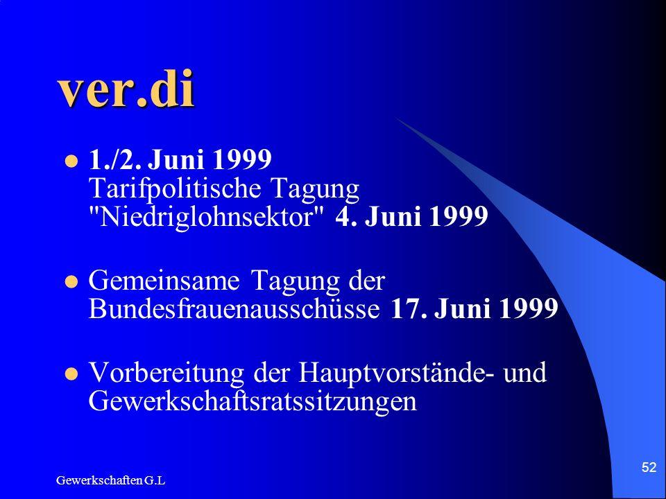 ver.di 1./2. Juni 1999 Tarifpolitische Tagung Niedriglohnsektor 4. Juni 1999. Gemeinsame Tagung der Bundesfrauenausschüsse 17. Juni 1999.