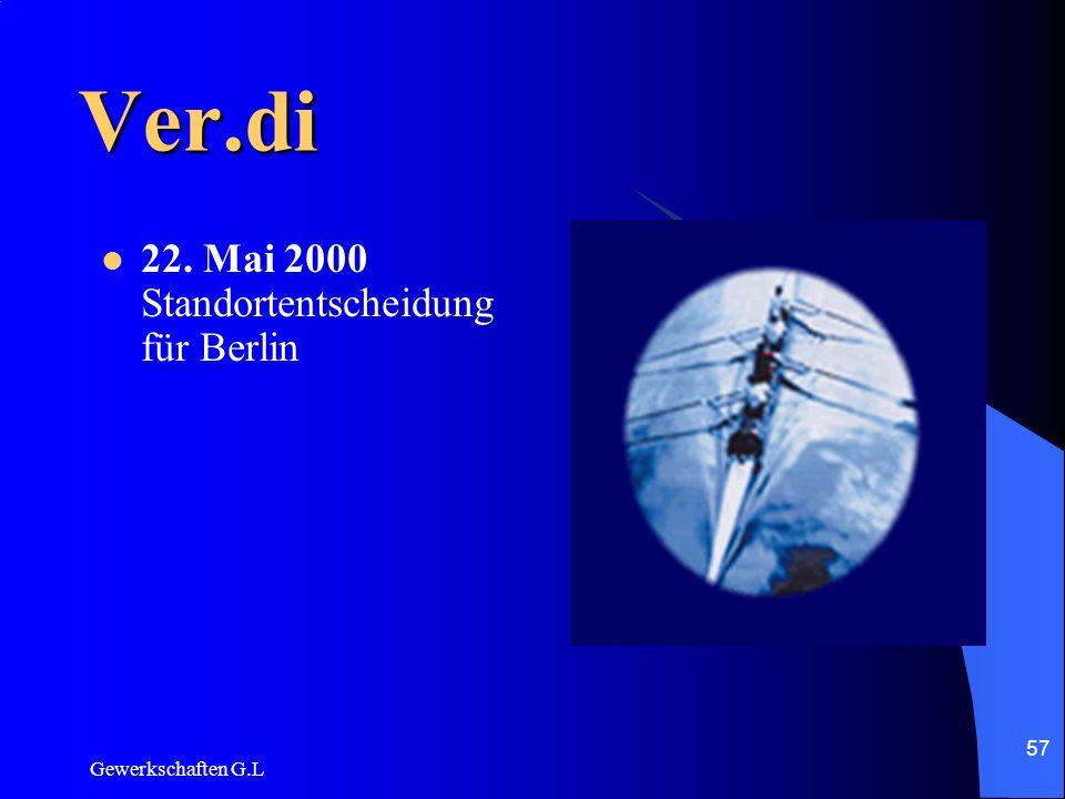 Ver.di 22. Mai 2000 Standortentscheidung für Berlin Gewerkschaften G.L
