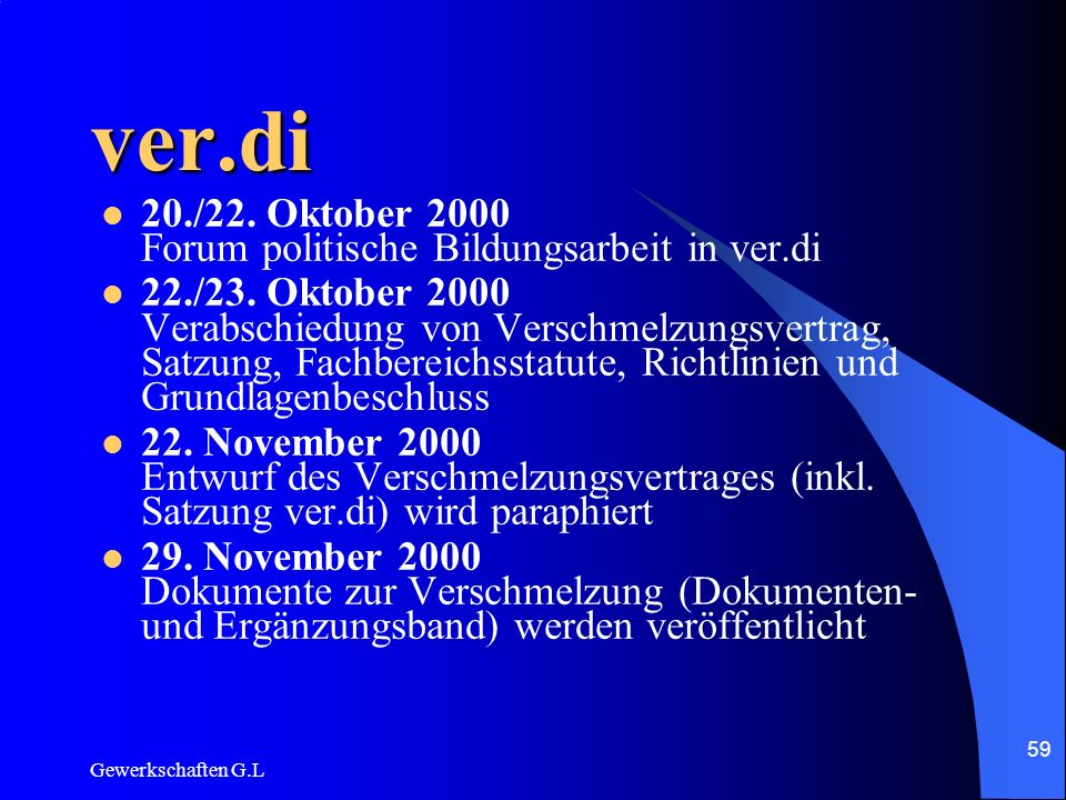 ver.di 20./22. Oktober 2000 Forum politische Bildungsarbeit in ver.di