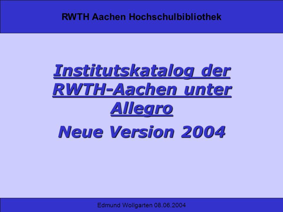 Institutskatalog der RWTH-Aachen unter Allegro