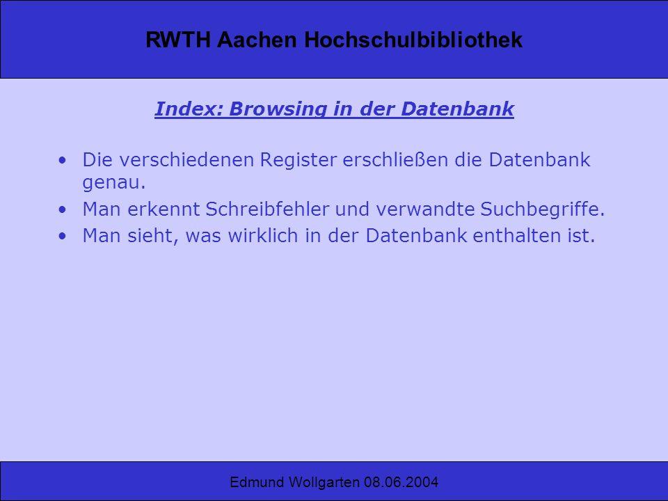 Index: Browsing in der Datenbank
