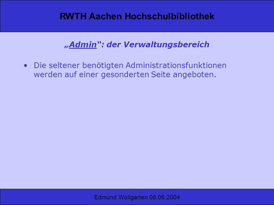 """""""Admin : der Verwaltungsbereich"""