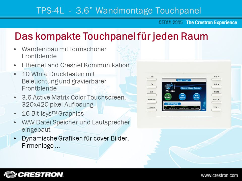 TPS-4L - 3.6 Wandmontage Touchpanel