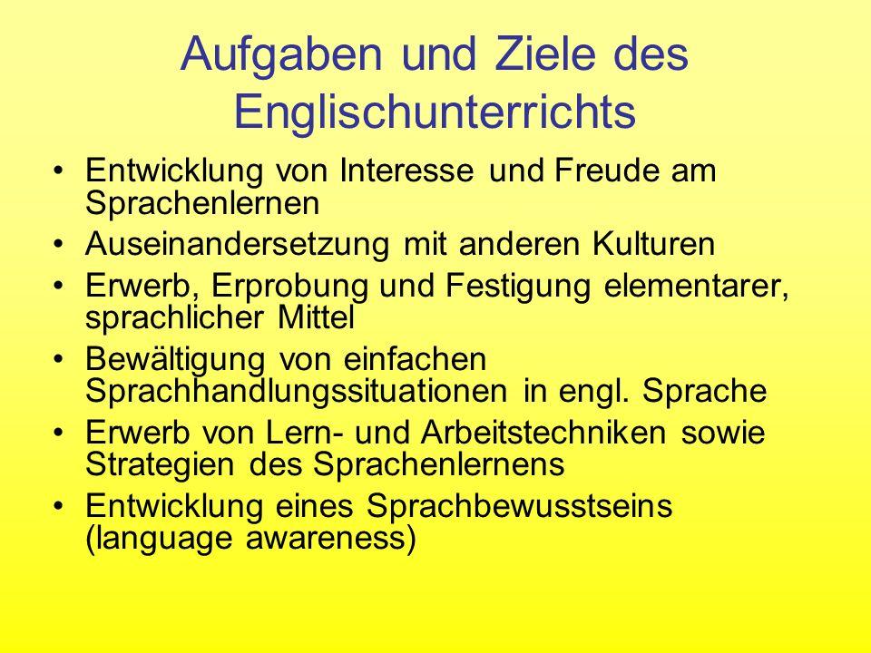 Aufgaben und Ziele des Englischunterrichts
