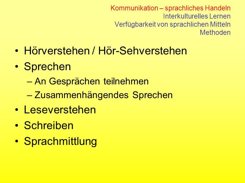 Hörverstehen / Hör-Sehverstehen Sprechen