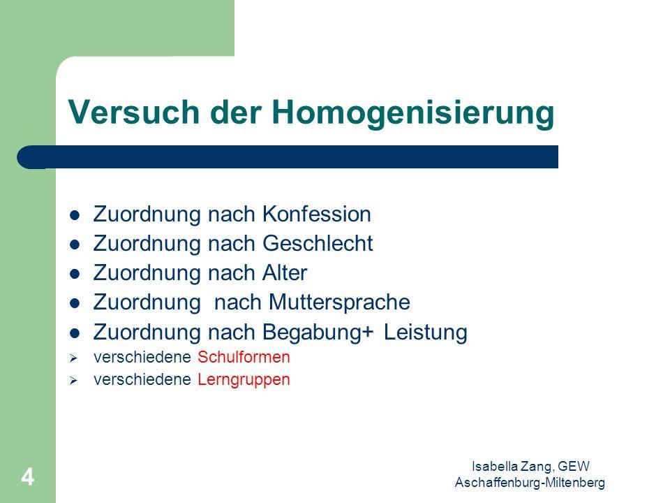 Versuch der Homogenisierung