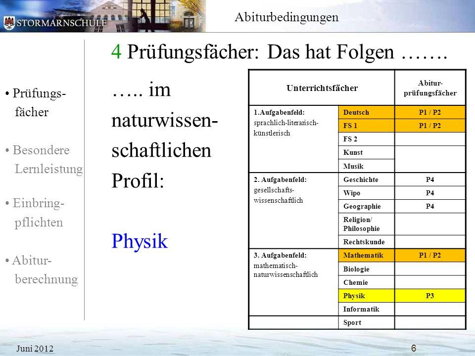 4 Prüfungsfächer: Das hat Folgen …….