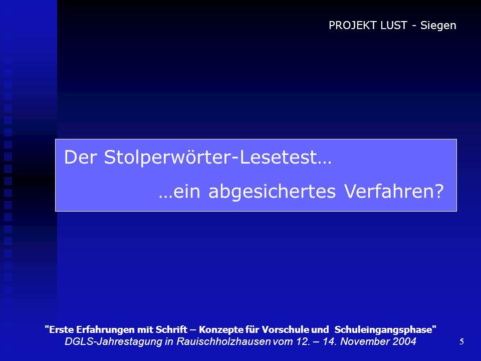Leseuntersuchung mit dem Stolperwu00f6rtertest - ppt video ...