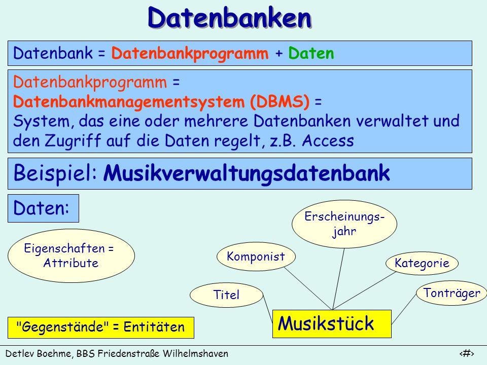 Datenbanken Beispiel: Musikverwaltungsdatenbank Daten: Musikstück