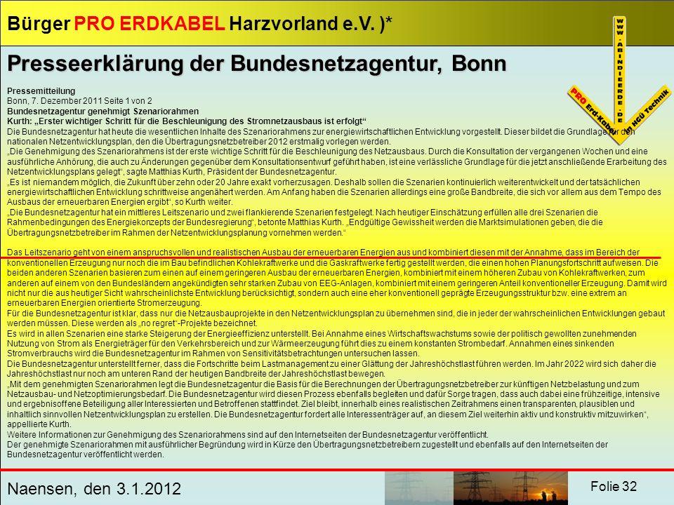 Presseerklärung der Bundesnetzagentur, Bonn