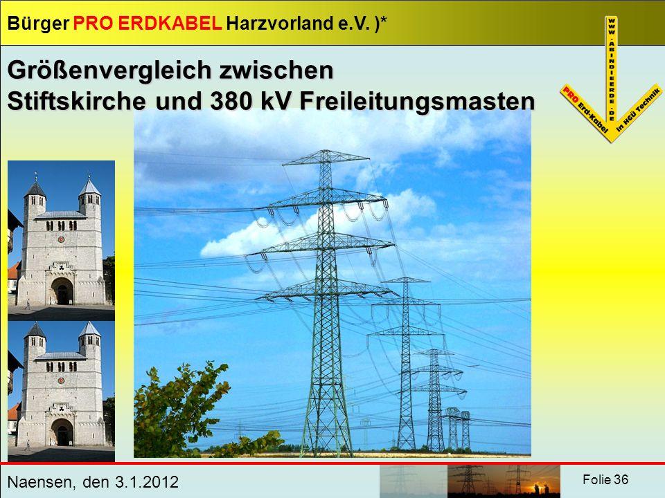 Größenvergleich zwischen Stiftskirche und 380 kV Freileitungsmasten