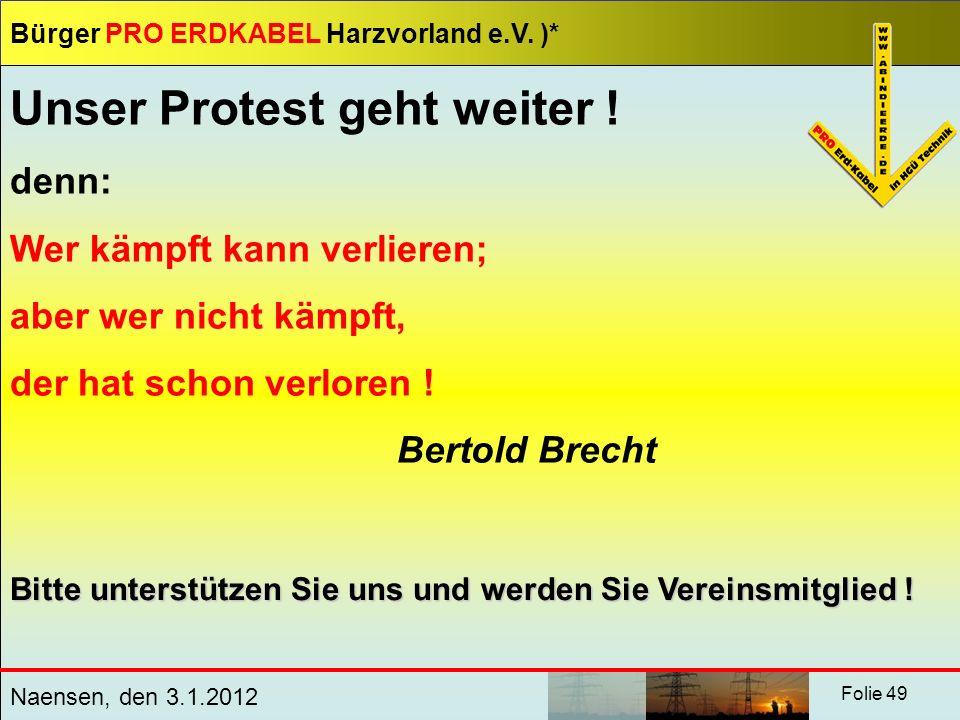 Unser Protest geht weiter !