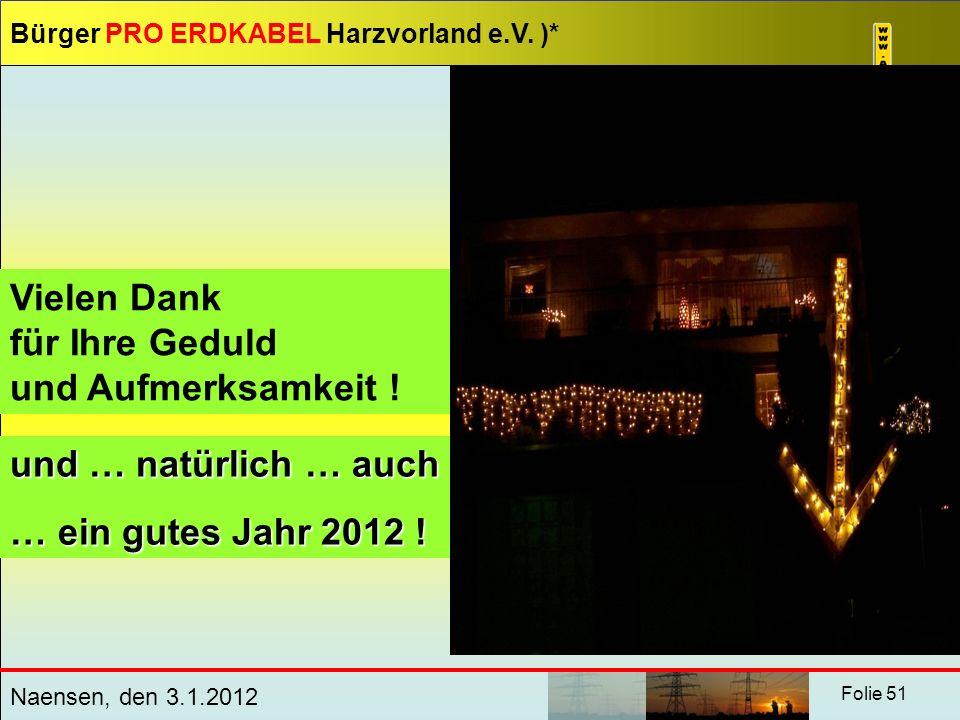 Vielen Dank für Ihre Geduld und Aufmerksamkeit ! und … natürlich … auch … ein gutes Jahr 2012 !