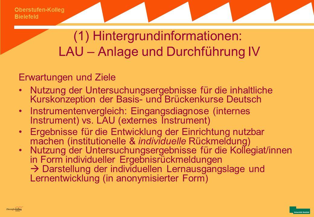 (1) Hintergrundinformationen: LAU – Anlage und Durchführung IV