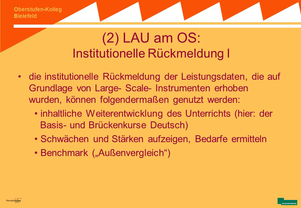 (2) LAU am OS: Institutionelle Rückmeldung I