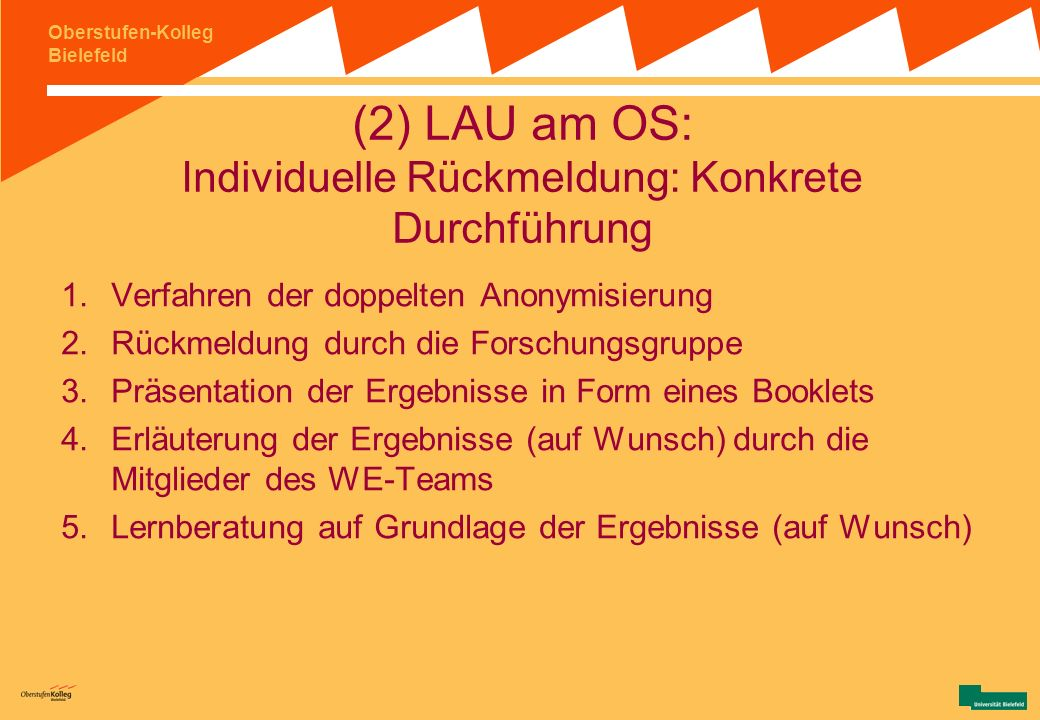 (2) LAU am OS: Individuelle Rückmeldung: Konkrete Durchführung
