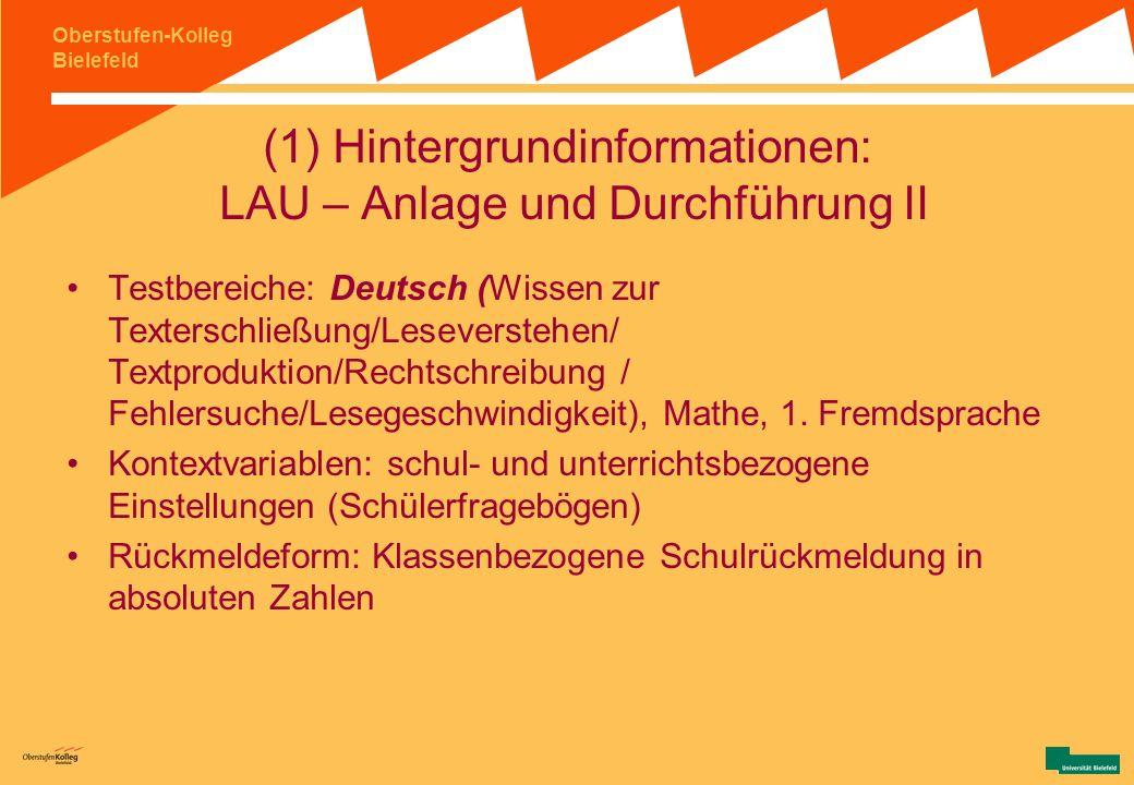 (1) Hintergrundinformationen: LAU – Anlage und Durchführung II
