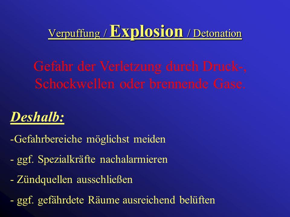Verpuffung / Explosion / Detonation