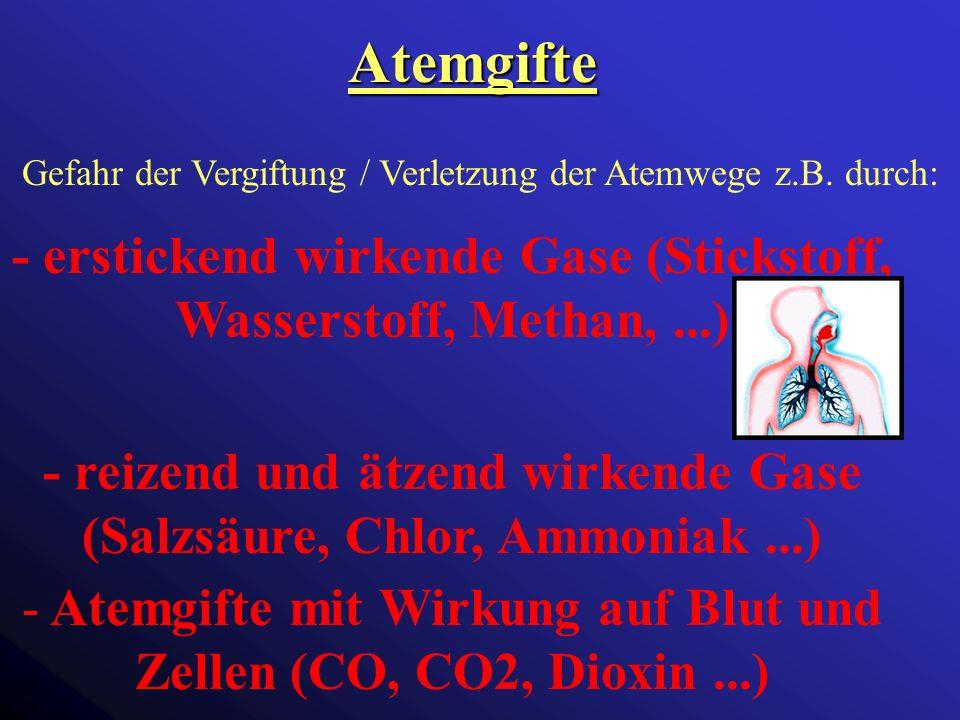 Atemgifte Gefahr der Vergiftung / Verletzung der Atemwege z.B. durch: - erstickend wirkende Gase (Stickstoff, Wasserstoff, Methan, ...)