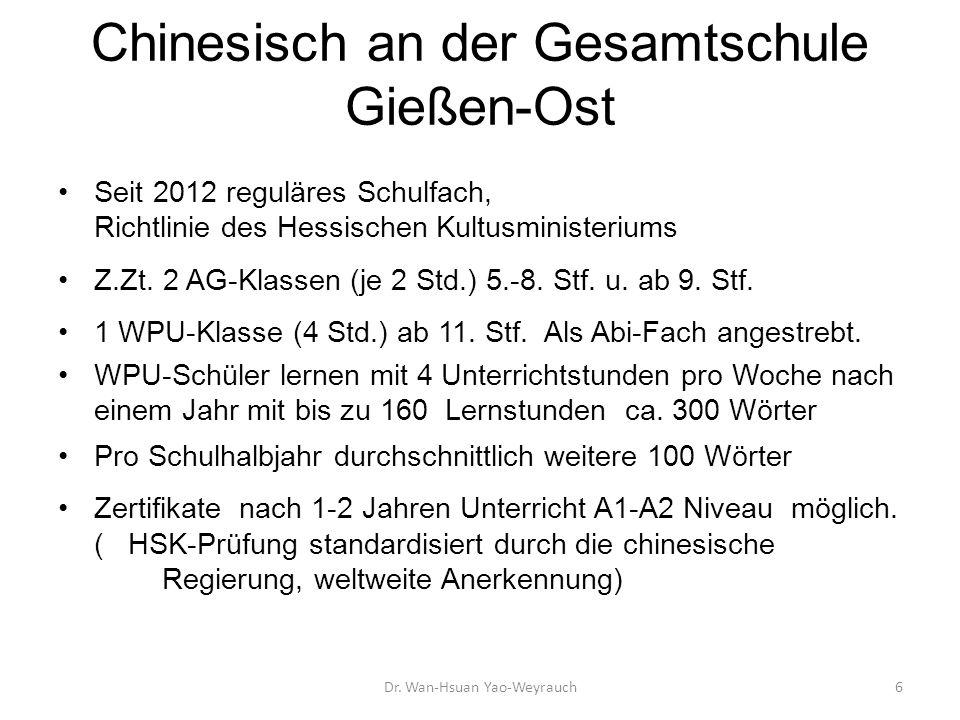 Chinesisch an der Gesamtschule Gießen-Ost