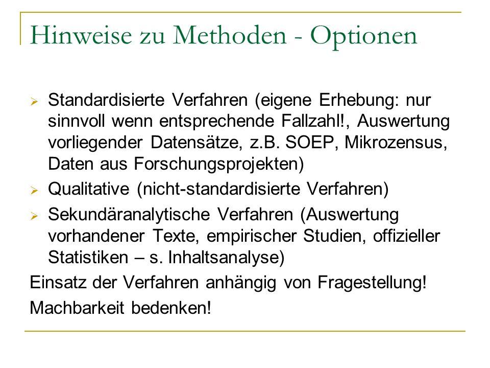 Hinweise zu Methoden - Optionen