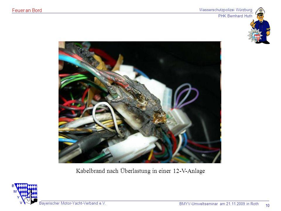 Kabelbrand nach Überlastung in einer 12-V-Anlage