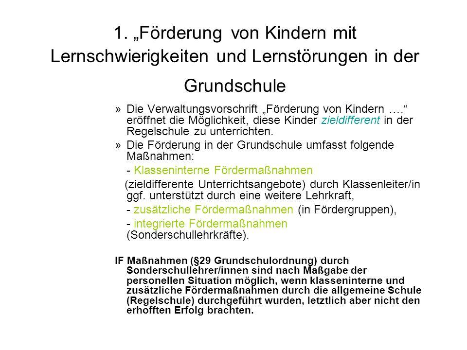 """1. """"Förderung von Kindern mit Lernschwierigkeiten und Lernstörungen in der Grundschule"""