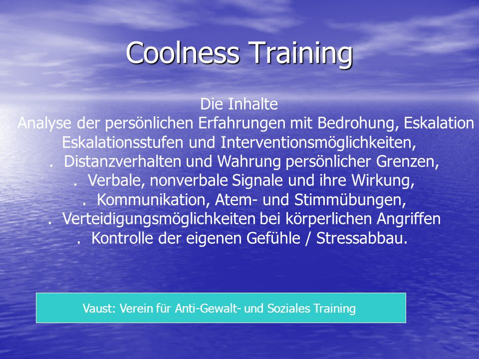 Coolness Training Die Inhalte