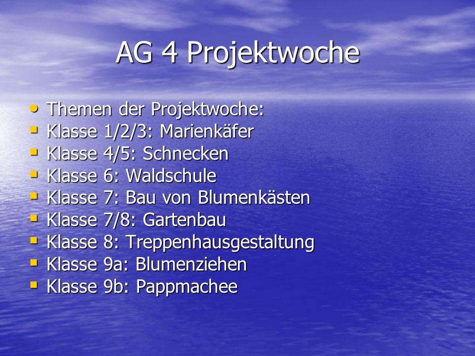 AG 4 Projektwoche Themen der Projektwoche: Klasse 1/2/3: Marienkäfer