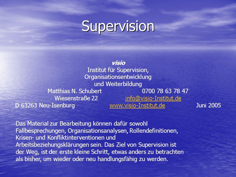Supervision visio Institut für Supervision, Organisationsentwicklung