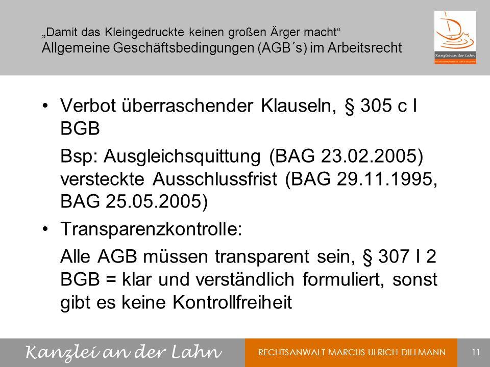 Verbot überraschender Klauseln, § 305 c I BGB
