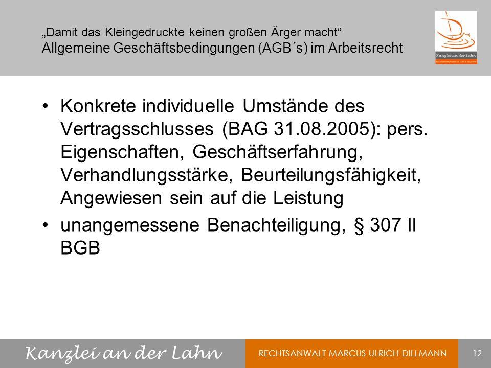 unangemessene Benachteiligung, § 307 II BGB
