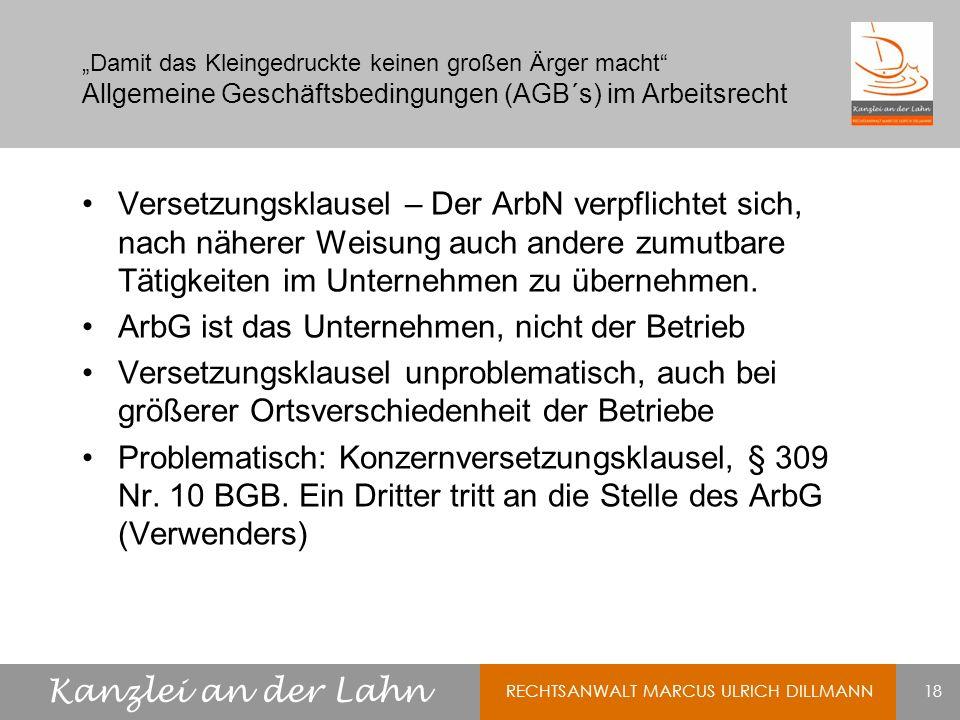 ArbG ist das Unternehmen, nicht der Betrieb
