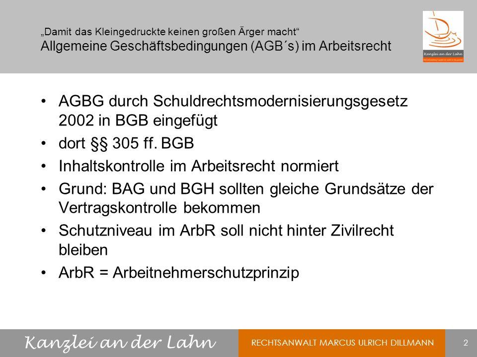 AGBG durch Schuldrechtsmodernisierungsgesetz 2002 in BGB eingefügt