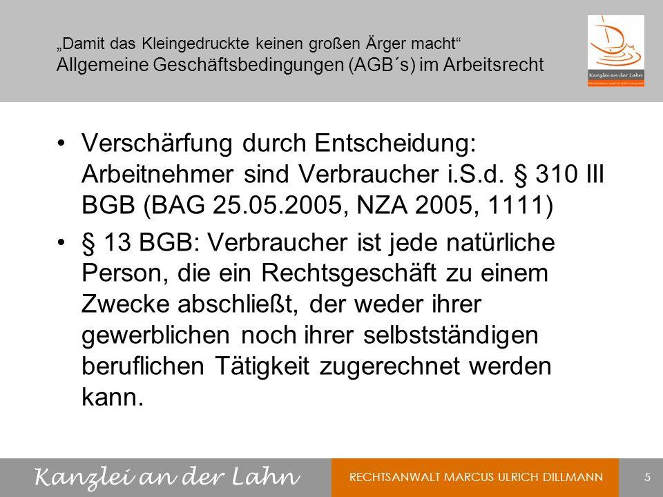 """""""Damit das Kleingedruckte keinen großen Ärger macht Allgemeine Geschäftsbedingungen (AGB´s) im Arbeitsrecht"""