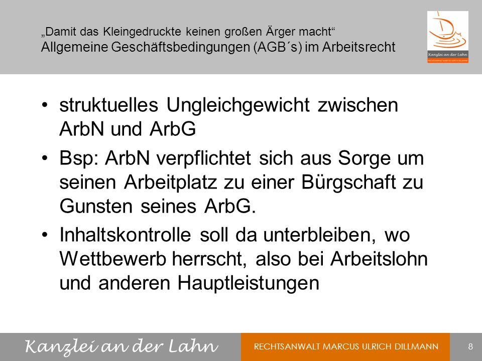 struktuelles Ungleichgewicht zwischen ArbN und ArbG