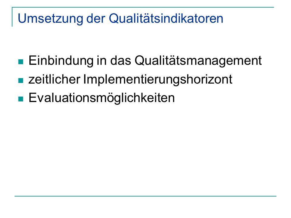 Umsetzung der Qualitätsindikatoren