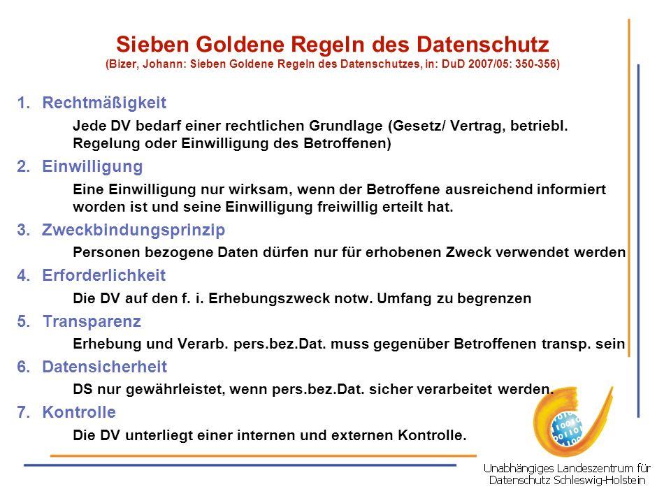 Sieben Goldene Regeln des Datenschutz (Bizer, Johann: Sieben Goldene Regeln des Datenschutzes, in: DuD 2007/05: 350-356)