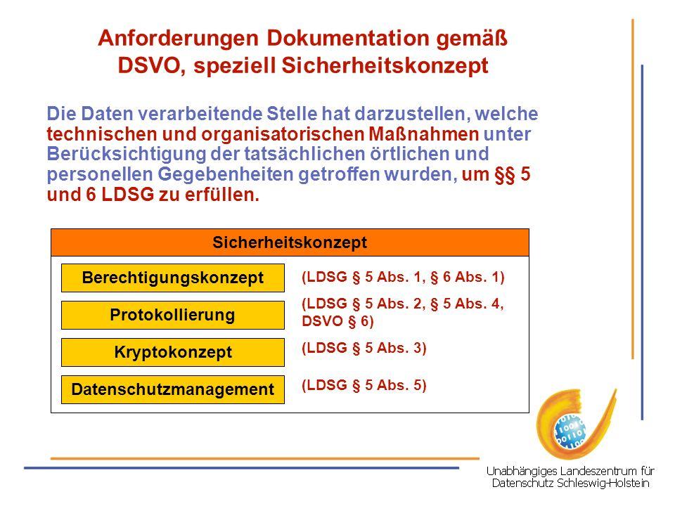 Anforderungen Dokumentation gemäß DSVO, speziell Sicherheitskonzept