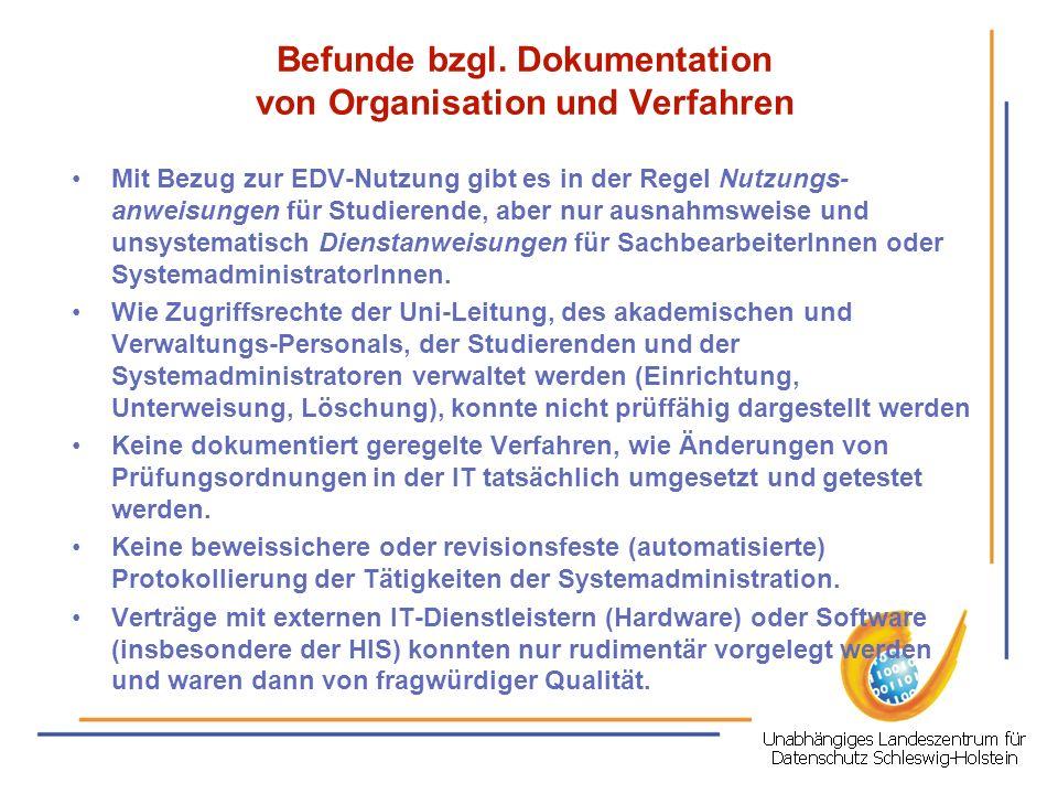 Befunde bzgl. Dokumentation von Organisation und Verfahren
